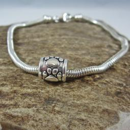 Paw Print Antique Silver Tube Bead European-Style Charm and Brac