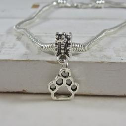 Open Paw Print Pewter European-Style Charm and Bracelet