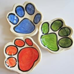 Handmade Paw Print Small Pottery Bowl