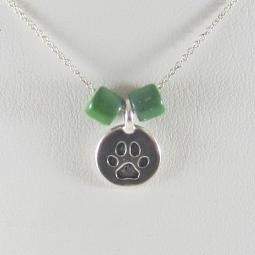One-of-a-Kind Small Paw Print Circle Pendant Necklace with Green