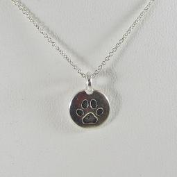Small Paw Print Circle Pendant Charm and Necklace