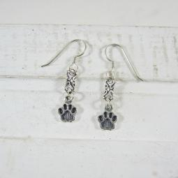 Paw Print Sterling Silver Dangle Earrings