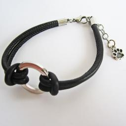 Paw Print End Charm Dangle Ster. Circle Black Leather Bracelet