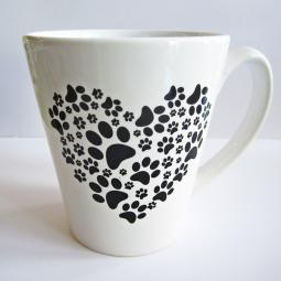 Paw Print Heart 12oz. Ceramic Mug