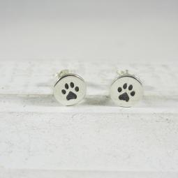 Paw Print Sterling Silver Post Earrings