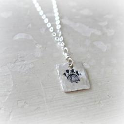 Paw Print Hand Stamped Sterling Silver Necklace