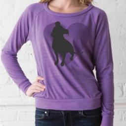 Pit Bull Heart Eco Ladies Slouchy Pullover - Purple