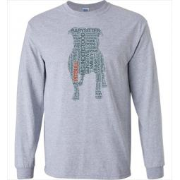 Pit Bull Text Unisex Long Sleeve T-Shirt - Athletic Grey - Size