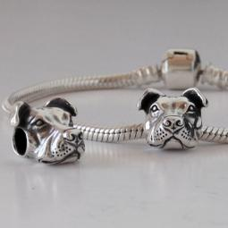 Peaceful Pit Bull Charm (Sterling Silver) and Bracelet