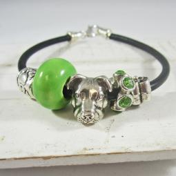One-of-a-Kind Pit Bull, Green and Silver Bead Bracelet