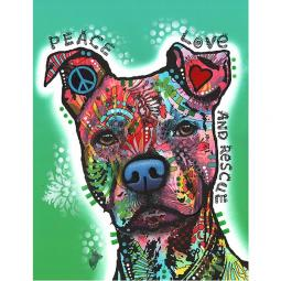 Peace, Love, and Rescue Indelible Dog Dean Russo Print