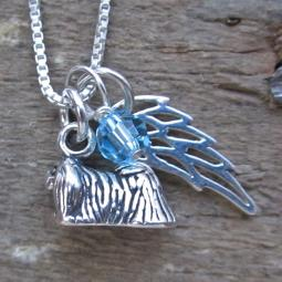 Pekingese Mini Angel Wing Sterling Silver Necklace