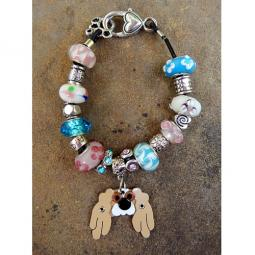"Pekingese 7.5"" Silver & Glass Bracelet (one of a kind)"