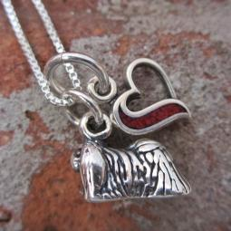 Pekingese In My Heart Mini Sterling Silver Necklace