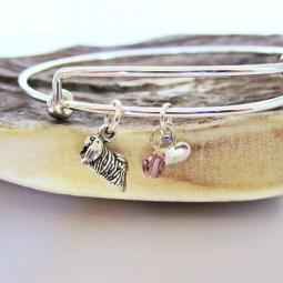 "Pekingese Mini Heart Stackable Bangle Bracelet (2.5""-3"")"