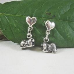 Pekingese Mini Heart Sterling Silver Earrings