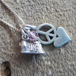 Pekingese Mini Peace Love Sterling Silver Necklace
