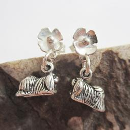 Pekingese Poppy Sterling Silver Earrings