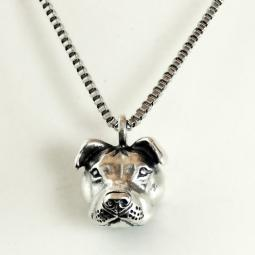 Pit Bull Pendant Sterling Silver Necklace