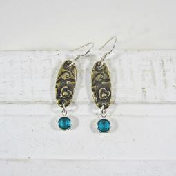 Aqua and Antique Brass Love Dangle Earrings