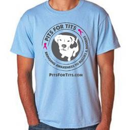 Pits For Tits Unisex T-Shirt - Light Blue Size Small