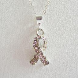 Pink Crystal Ribbon Pendant Charm and Necklace