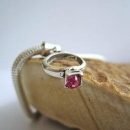 Pink Birthstone Ring European-Style Charm and Bracelet