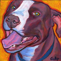 Smiling Brown and White Pit Bull Print
