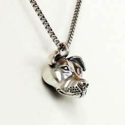 Pit Bull Head Pendant Sterling Silver Charm (for necklace)