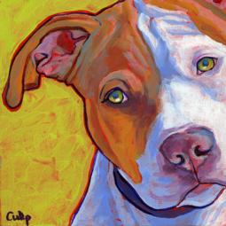 Tan and White Pit Bull Print