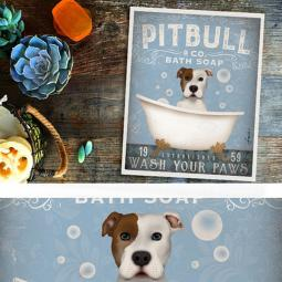 Pit Bull Bath Soap Company 8x10 Giclee Print-white w/ brown ear