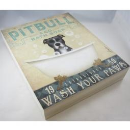 Black & White Pit Bull Bath Soap Company 8x10 Canvas Panel Frame