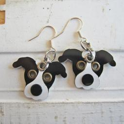 Pit Bull Black & White Metal Rivet  Earrings