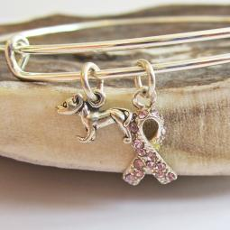 Pit Bull Breast Cancer Awareness Bangle Bracelet