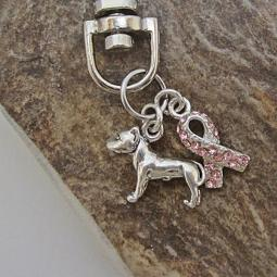 Pit Bull Breast Cancer Awareness Keychain