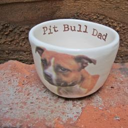 Handmade Pit Bull Dad with Dog Ceramic Mini Dish