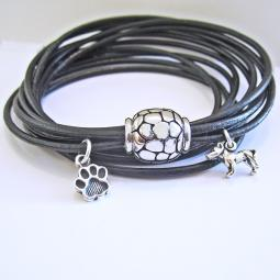 Paw Print Leather Wrap 5-Strand Bracelet with Dog Charm