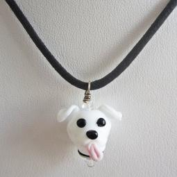 White Pit Bull Glass Pendant Necklace - ONLY 1 LEFT