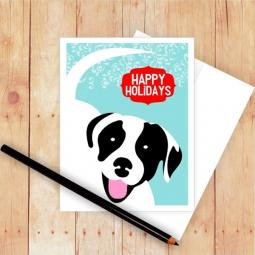 Pit Bull Happy Holidays Christmas Card