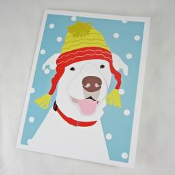 Pit Bull in a Hat Christmas Card