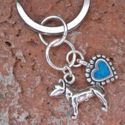 Pit Bull Turquoise Heart Keychain