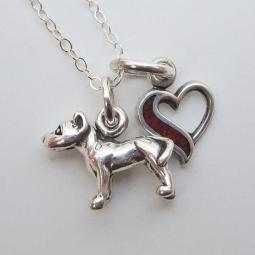 Pit Bull In My Heart Mini Sterling Silver Necklace