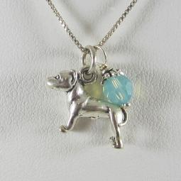 Pit Bull Large Charm Sterling Silver Necklace