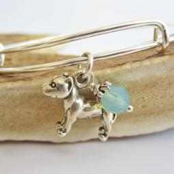 "Pit Bull Large Dangle Stackable Bangle Bracelet (2.5""-3"")"