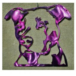 Pit Bull Metal Wall Hanging - Large Purple