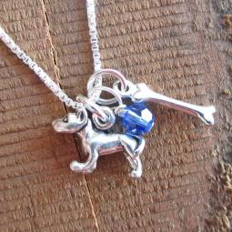 Pit Bull Dog Bone Mini Sterling Silver Necklace