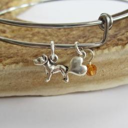 "Pit Bull Mini Heart Stackable Bangle Bracelet (2.5""-3"")"