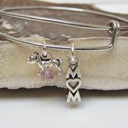 "Pit Bull Mom Stackable Bangle Bracelet (2.5""-3"")"