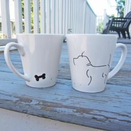 Set of Two Pit Bull Handpainted 12oz. Mugs