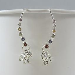 Pit Bull Multi-Gemstone Ear Wire Earrings - ONLY 1 LEFT